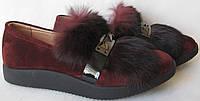 Marco Весна 2017 стильные женские слиперы туфли замша с мехом