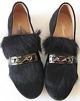 Marco Весна 2017 стильные женские слиперы туфли замша с мехом черные