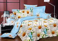 Качественное постельное белье полуторное 3d Ромашка
