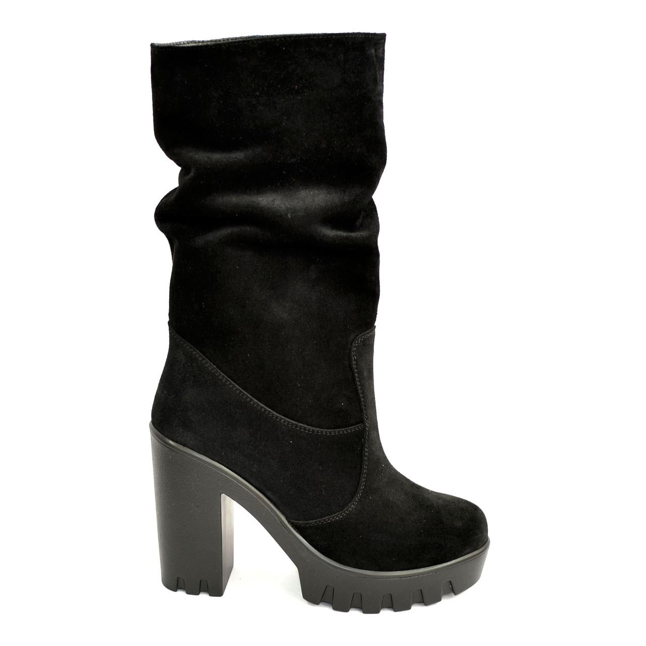 b982ab76bb3b Ботинки замшевые зимние на высоком каблуке.: продажа, цена в Днепре.  ботильоны, ...