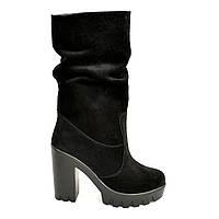 Ботинки замшевые зимние на высоком каблуке., фото 1
