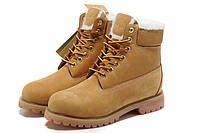 Женские ботинки Classic Timberland 6 inch Yellow Winter Fur High Quality