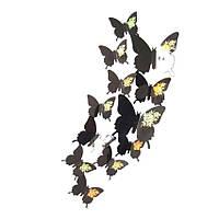 3D бабочки наклейки 12 шт черные 65-80 мм