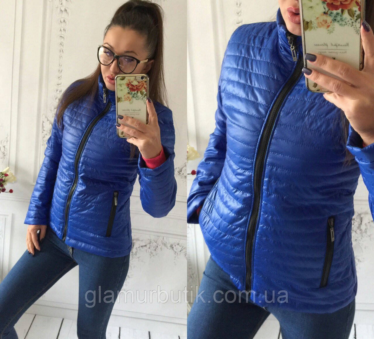 Демисезонная женская куртка на синтепоне Шанель синяя 42 44 46 48 50 ... 7f05994c490