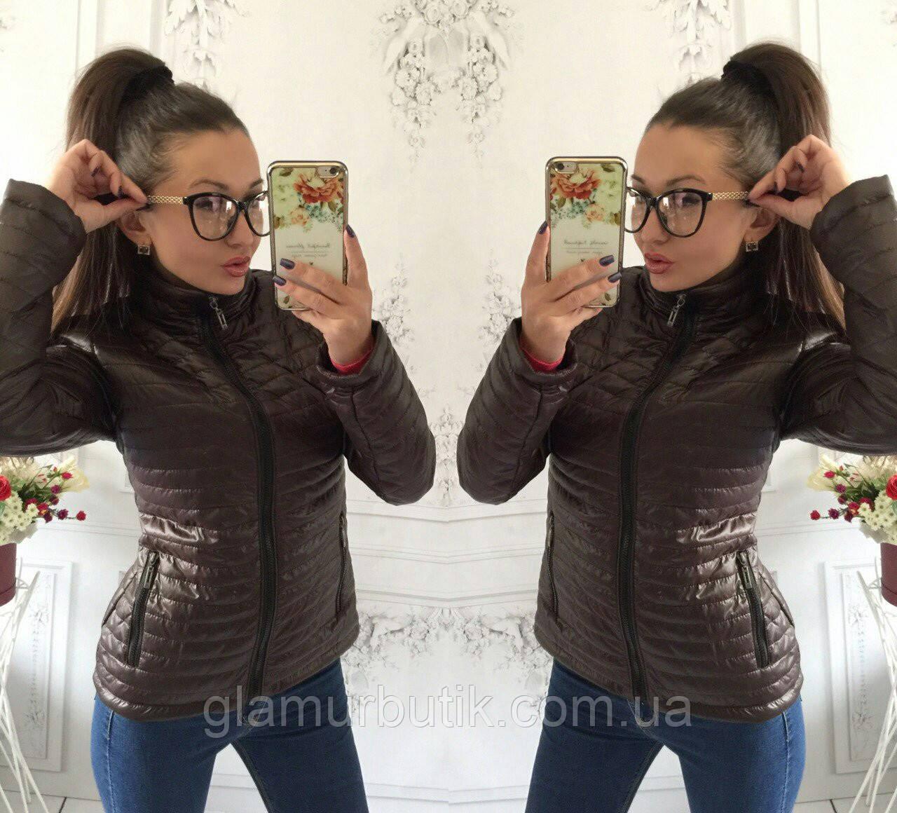 Демисезонная женская куртка Шанель 42 44 46 48 50 шоколад  продажа ... 808b89470cf