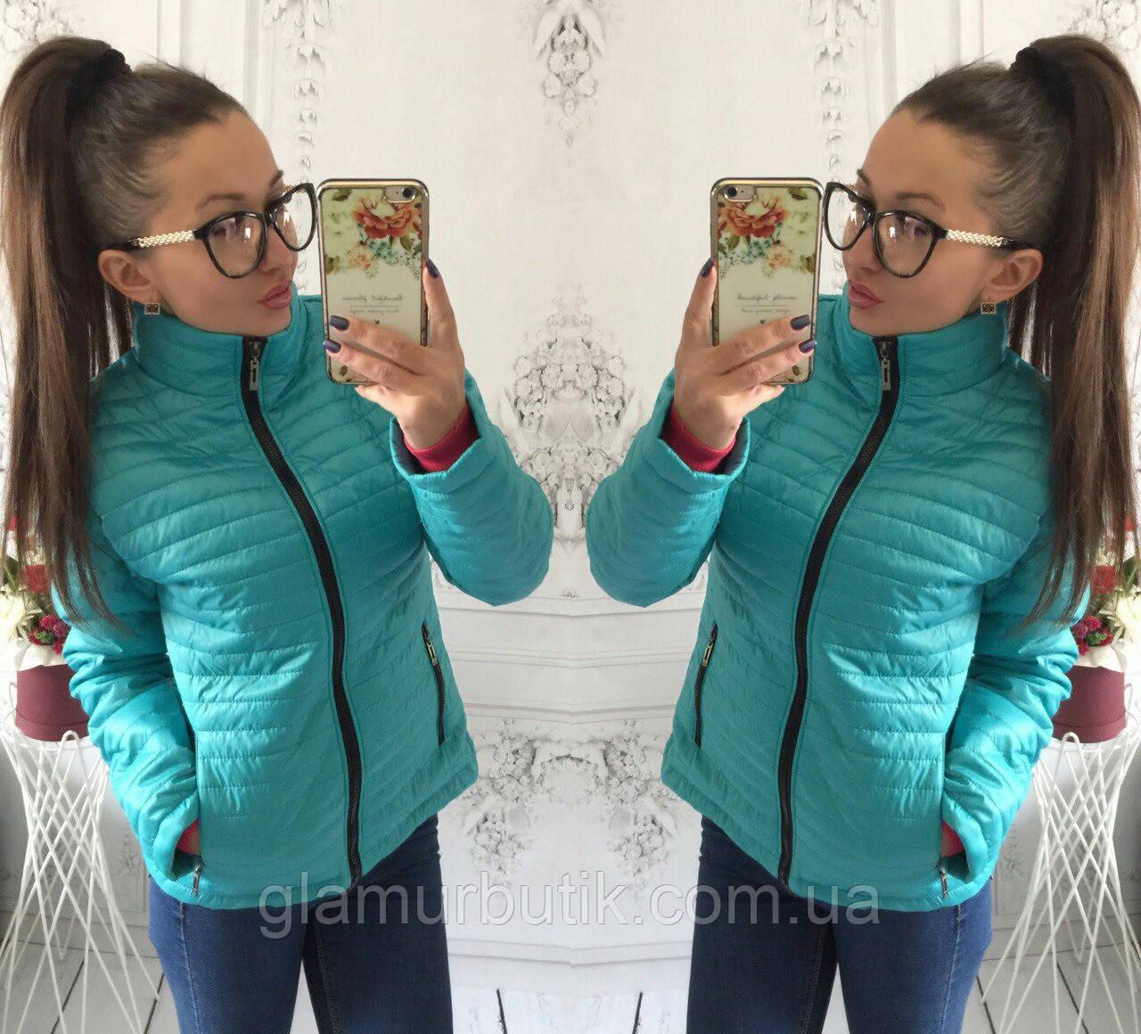 Демисезонная женская куртка Шанель на синтепоне бирюзовая 42 44 46 48 50 207287dc77b