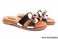 Шлепанцы женские натуральная кожа Tucino, цвет золото (каблук, комфорт, открытый носок, Турция)