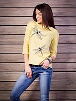 Кофта женская с принтом Стрекоза оригинальная спинка p.42-52 цвет желтый VM1885-3