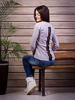 Кофта женская с принтом Стрекоза оригинальная спинка p.42-52 цвет серый VM1885-2