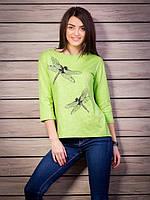 Кофта женская с принтом Стрекоза оригинальная спинка p.42-52 цвет салатовый VM1885-5