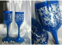 Свадебные бокалы  ручной работы для свадьбы в синем цвете