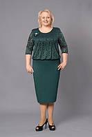 Платье новинка Лаура  больших размеров нарядное, красивое, модное модели размера 52, 54, 56, 58, 60 зеленое  о