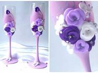 Свадебные бокалы  ручной работы для свадьбы в сиреневом цвете
