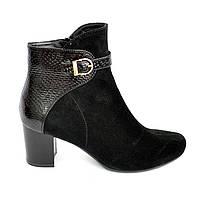 Женские демисезонные ботинки на невысоком каблуке. Натуральный замш и кожа питон