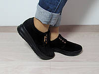 Туфли женские на толстой подошве натуральная замша