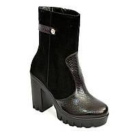 Женские демисезонные ботинки на каблуке из натуральной кожи питон и замши. 38 размер