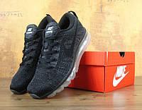 Мужские кроссовки Nike Flyknit Air Max black/dark grey. Топ качество. Живое фото (аир макс, эир макс)