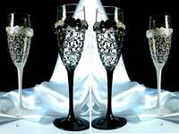 Свадебные бокалы  ручной работы черно-белые