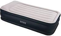 Односпальная надувная кровать Intex 64132 Deluxe Pillow Rest Raised Bed + встроенный электронасос