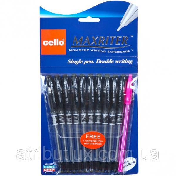 Ручка масляная MAXRITER черная (0.5м) в блистере 10шт+1доп. Ручка