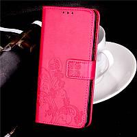 Чехол Meizu M3 note книжка Clover женский малиновый