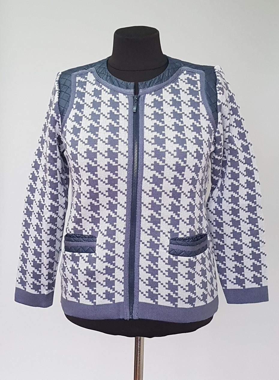 Теплый женский пиджак-жакет двойной вязки с карманами