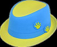 Шляпа  детская Желто-Голубая красивая  на мальчика, девочку  для праздника или утренника
