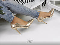 Женские туфли на каблуке 9 см, эко кожа, цвет золото / туфли женские 2017, модные
