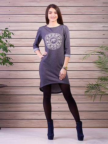 043600562c5 Модное женское трикотажное платье туника с карманами удлиненное сзади