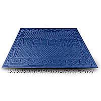 """Коврик резиновый с синтетическим покрытием """"WELCOME"""" 730 х 1165 мм синий"""