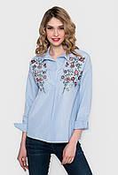 Голубая серая женская рубашка с вышивкой