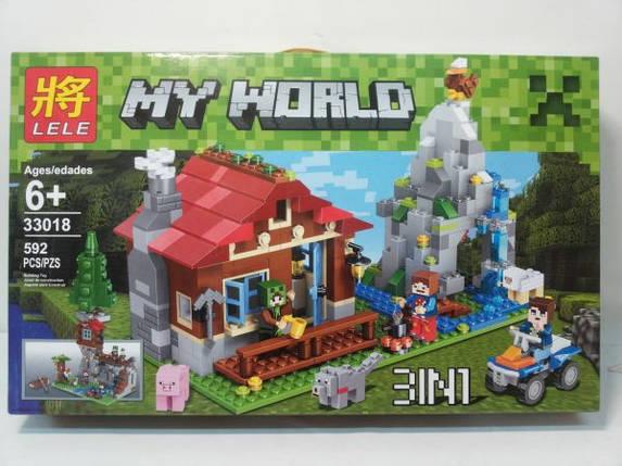 Конструктор Lele серия My World 33018 Хижина в горах 3в1 (аналог Lego Майнкрафт, Minecraft), фото 2