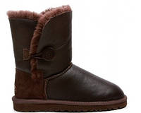 Женские UGG Bailey Button Leather Metalic Chocolate