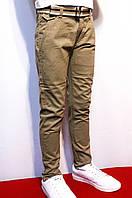 Осенние котоновые брюки песочного цвета для подростков от 8-16лет(134-164см) (Весна-2018г)Польша
