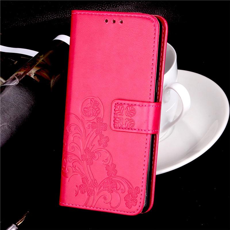 Чехол Meizu M5S книжка Clover малиновый
