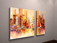 Модульная картина на холсте Абстракция Акварельный Город 100х60 из 2-х частей
