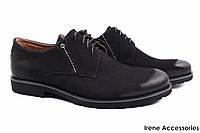 Модельные туфли мужские Tonkelli нубук цвет черный (комфорт, каблук, шнуровка, Украина)