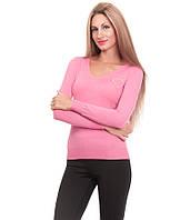 Свитер женский сердце гипюр  розовый