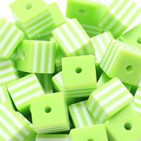 Бусины Смола Кубики полосатые 8*8*8м Салатовые 5шт