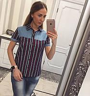 Рубашка женская с коротким рукавом , джинсовая вставка 2310