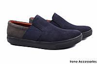Туфли мужские Flamanti нубук цвет синий, серый (демисезонные, платформа, Украина)