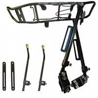 Багажник для велосипеда. Раздвижной под дисковый тормоз. Алюминиевый черный. Велосипедный багажник. Багажник.