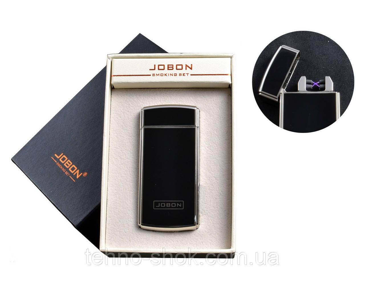 USB зажигалка JOBON с двумя перекрестными молниями и счетчиком использования (Электроимпульсная)