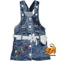 """Детский джинсовый сарафан """"Flowers & Jeans Wear"""" для девочек (2-3-4-5 лет)"""