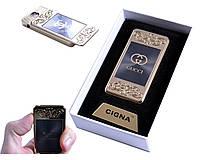 """USB зажигалка с фонариком в подарочной упаковке """"Gucci """" (спираль накаливания) №4810-1"""