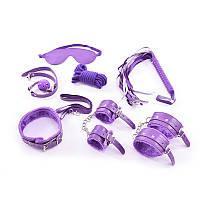 Набор Садо-мазо,фетиш, BDSM.БДСМ Плетка, веревка 5 м.маска,кляп,наручники 2 пары,ошейник.Фиолетовый