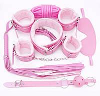 Набор Садо-мазо,фетиш, BDSM.БДСМ Плетка, веревка 5 м.маска,кляп,наручники 2 пары,ошейник.Розовый.
