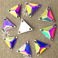 Стразы пришивные Треугольник 16 мм Crystal AB, смола