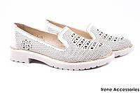Туфли летние комфорт EuroModa женские натуральная кожа, цвет белый (каблук, перфорация, Турция)