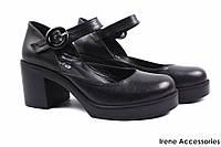 ba7aff1c61a5 Стильные туфли женские Ripka с ремешком натуральная кожа цвет черный  (модельные, каблук, Турция